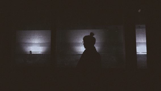 silhouette of person in room