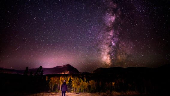 Person standing under starry sky.